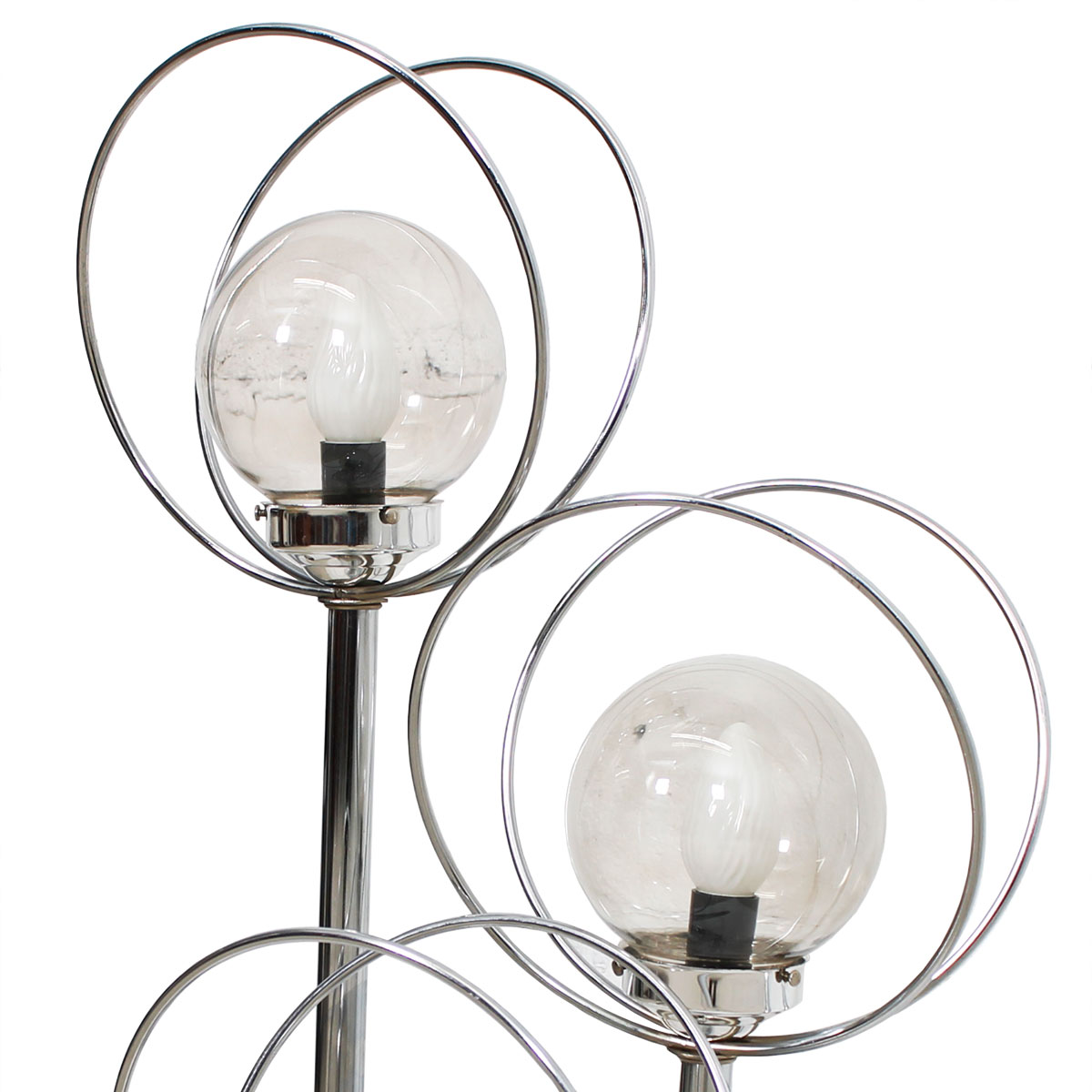 3-Tier Large Chrome Space Age Lamp w/ Orbs & Rings