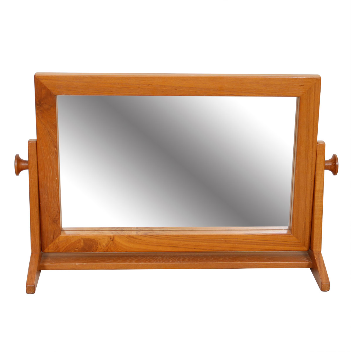 Compact Rectangular Danish Teak Cheval Table Mirror