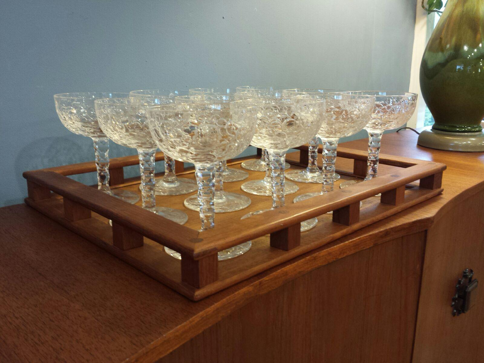 Russell Set of 12 Early 20th c American Crystal Champagne Glasses