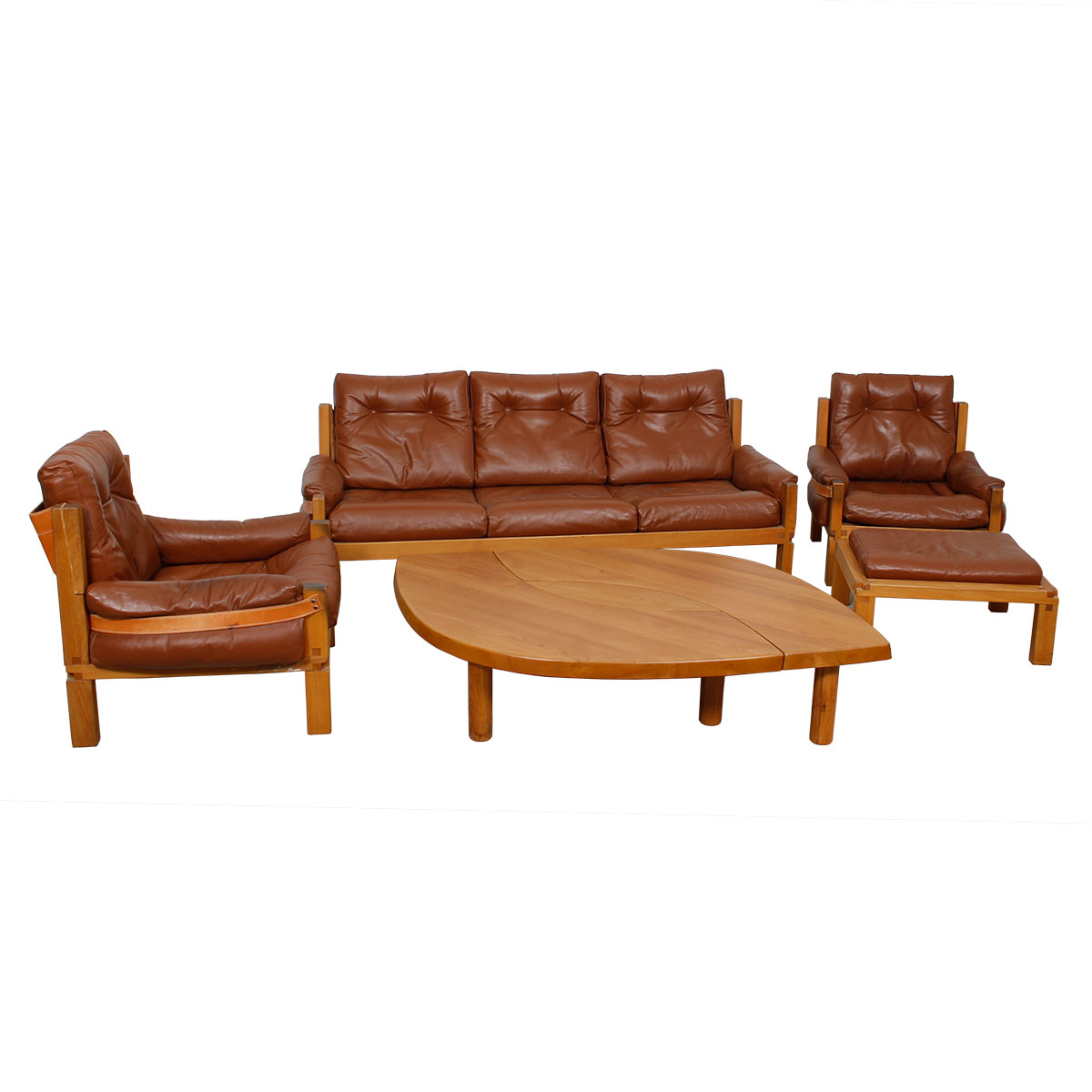Rare Pierre Chapo Solid Elm & Leather Living Room Set w/ Catalog & Provenance