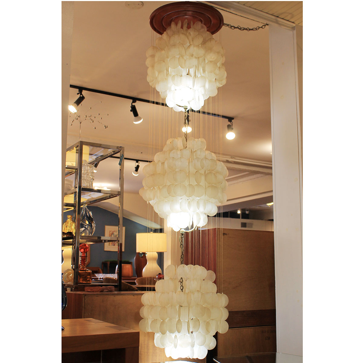Three-Tier Capiz Shell Waterfall Chandelier