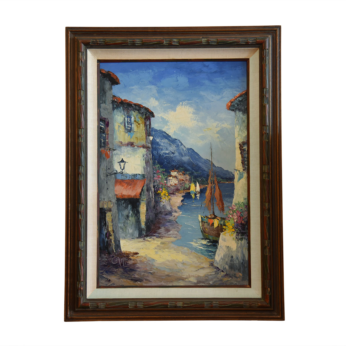 Original Signed Giovanni Camprio Mediterranean Oil and Acrylic Painting