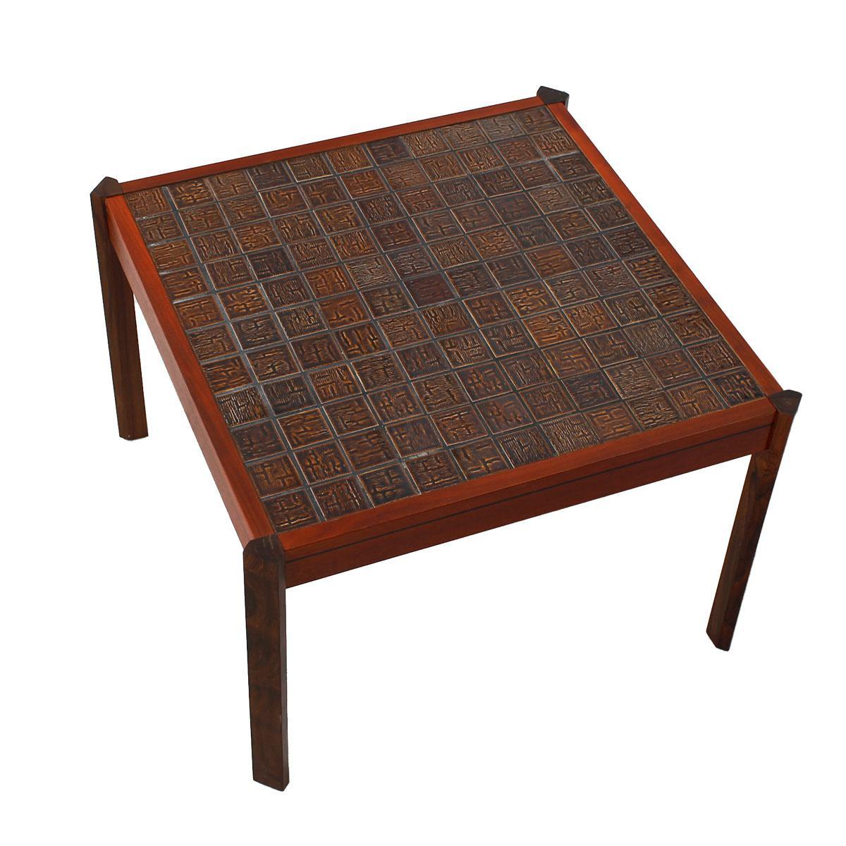 Danish Modern Accent Table with Tile Top