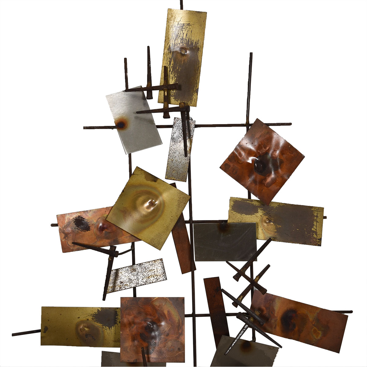 Silas Seandel Style Brutalist Mixed Metal Wall Sculpture