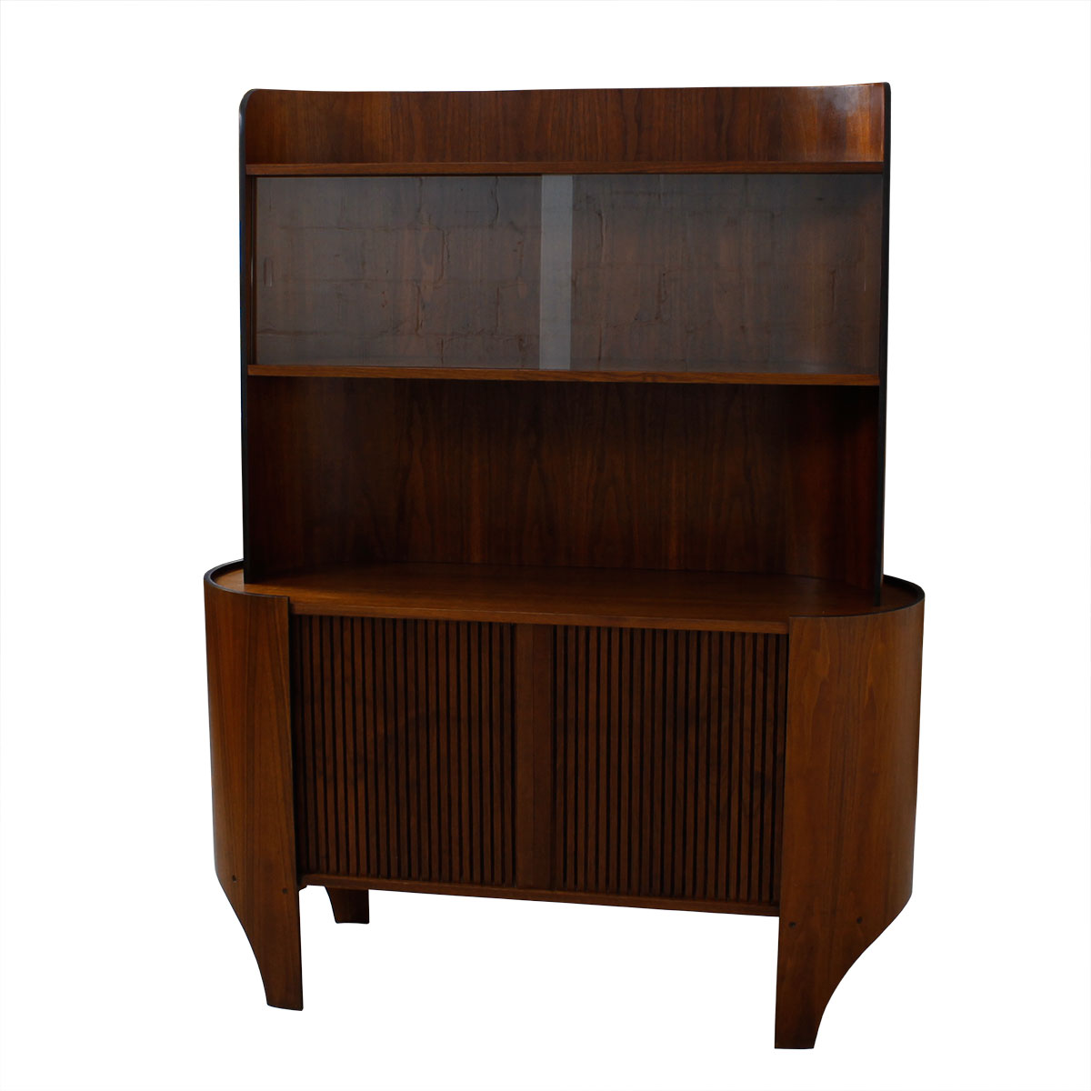 Rare Henry P. Glass Walnut Bentwood Tambour Door Display / Bar Cabinet