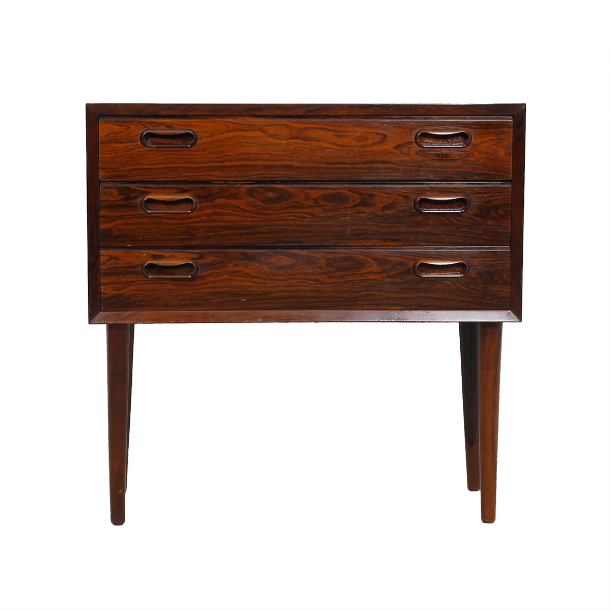 Petite Pair Danish Rosewood 3 Drawer Nightstands / End-Tables