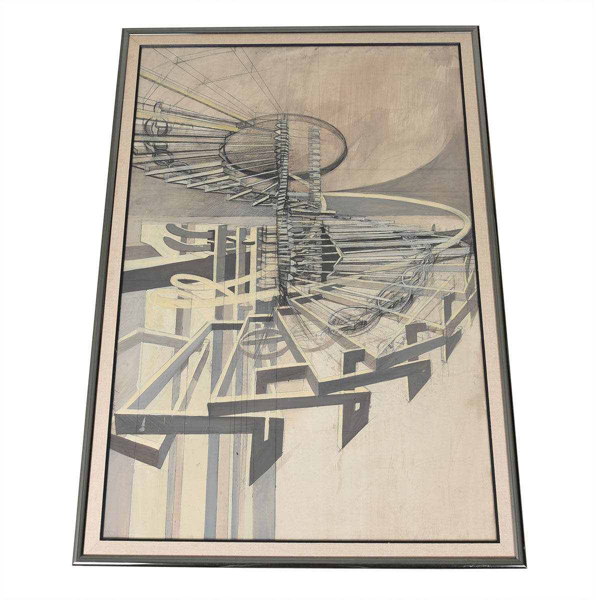 Extraordinary Pencil & Watercolor Sketch of Surrealist Industrial Machinery