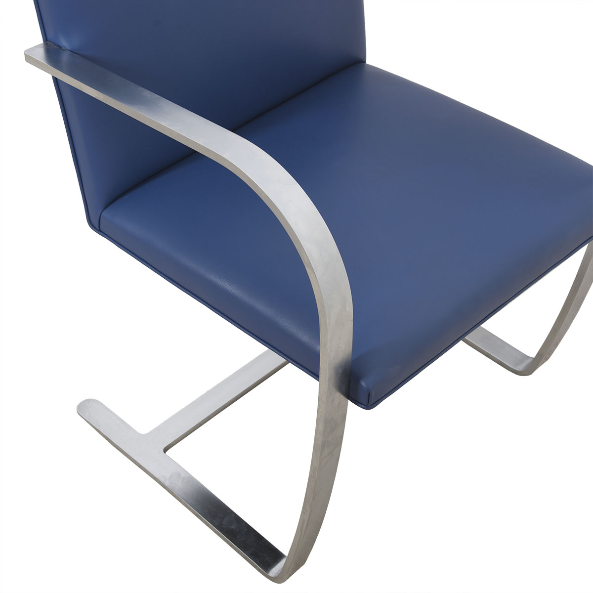 Pair of Stainless Steel Flat Bar Brno Chairs with Cadet Blue Leather Upholstery by Knoll