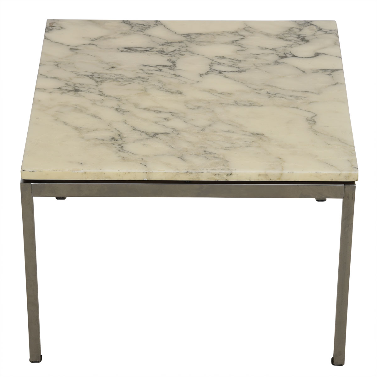 Mid Century Marble & Chrome Accent Table by Knoll.