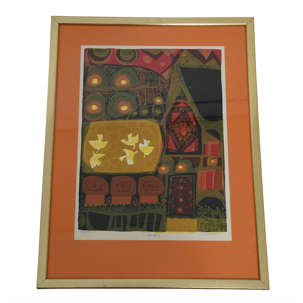 "1970s Signed Serigraph, ""Church II"", by David Weidman"