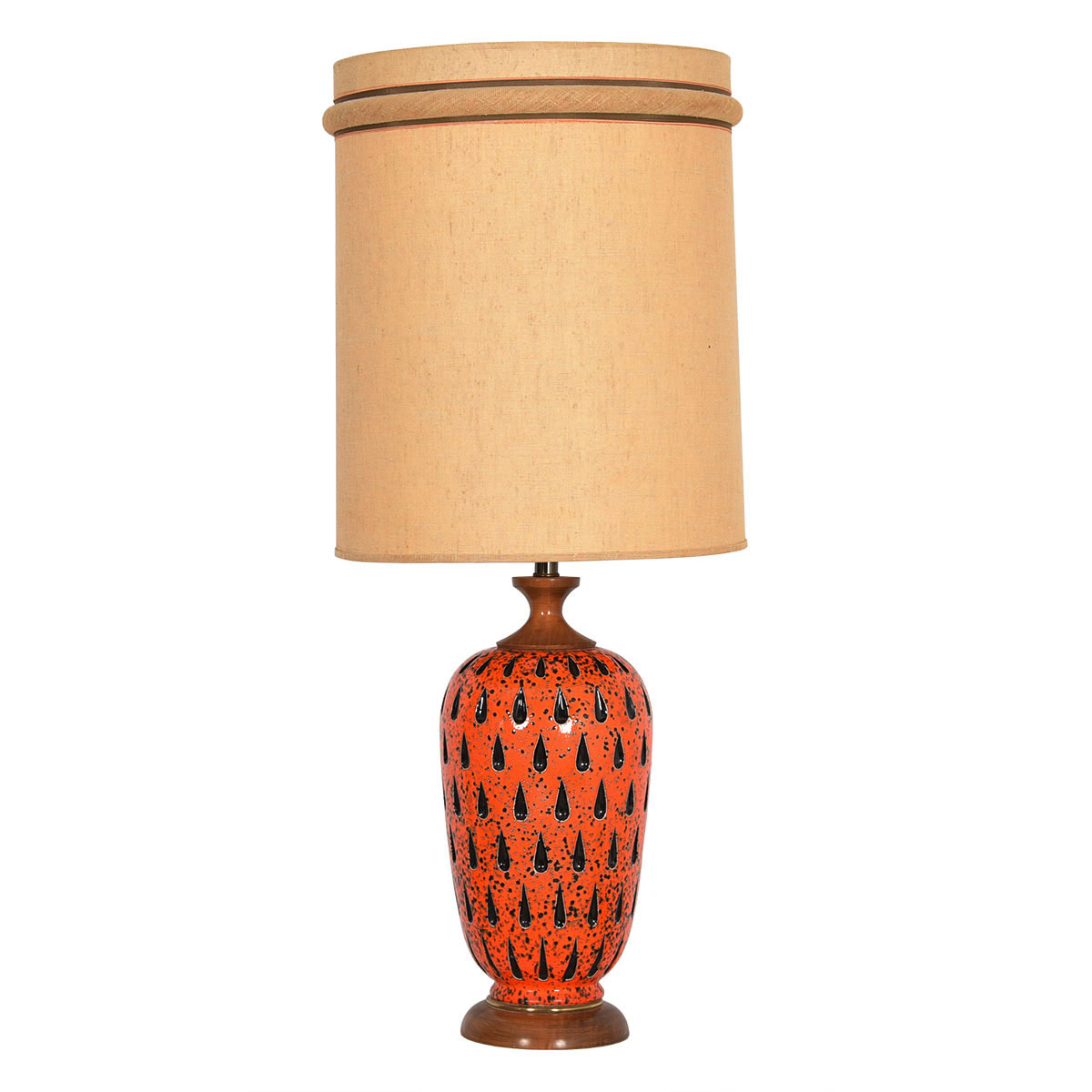 Orange Mid Century 'Teardrop' Table Lamp