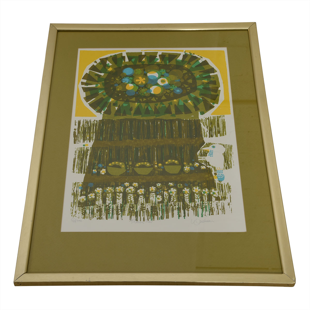 """1970s Signed Serigraph, """"Flower Tree"""", by David Weidman"""