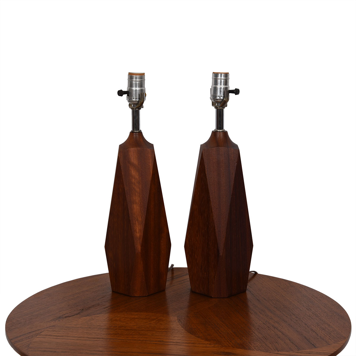 Pair of Solid Teak Geometric 'Faceted' Lamps