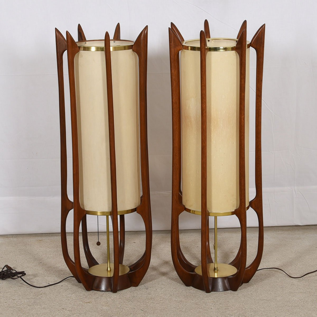Pair of Adrian Pearsall Style Walnut and Brass Sculptural Lamps