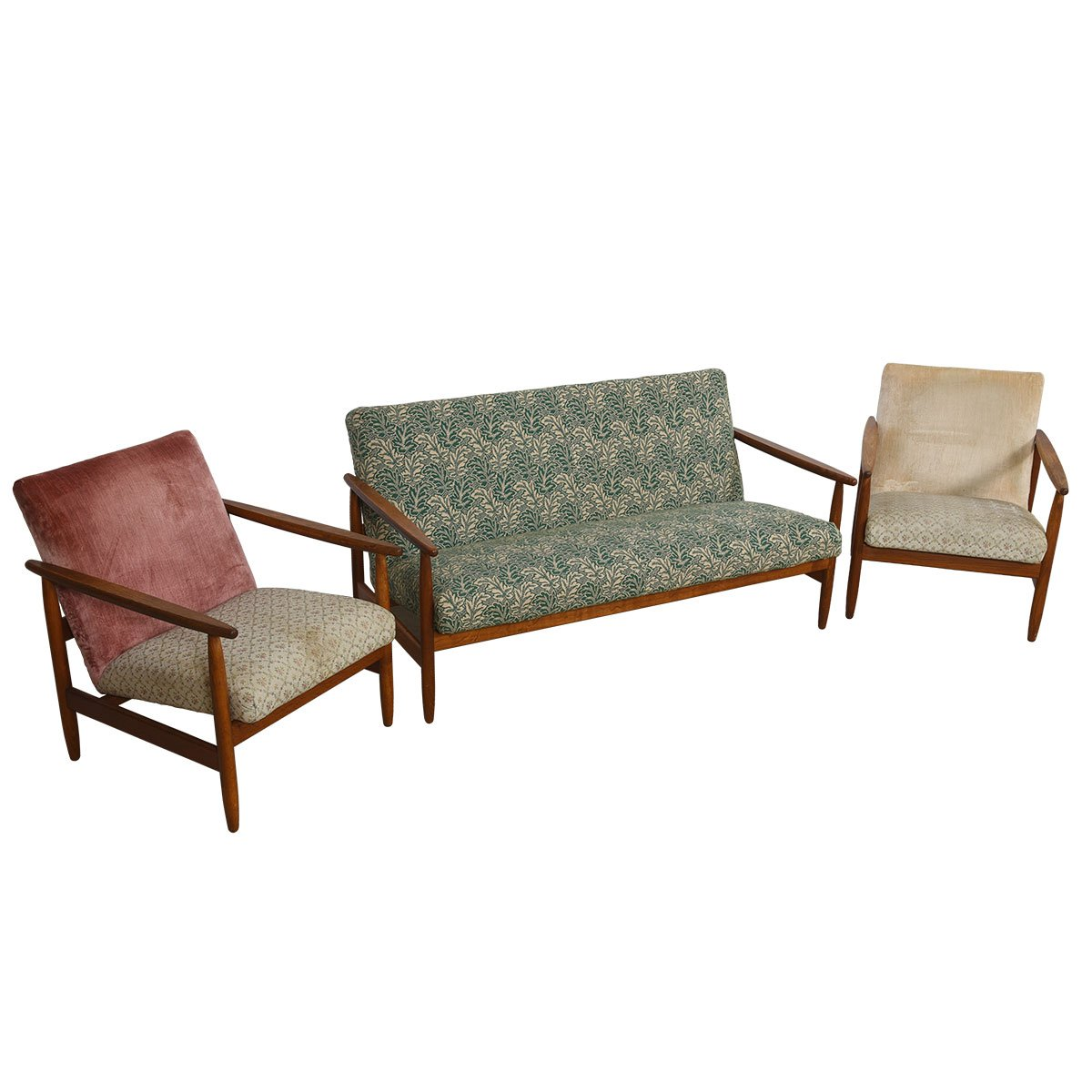 Rare Eyvind Johansson for FDB J65 Danish Set w/ Loveseat & Pr Lounge Chairs.