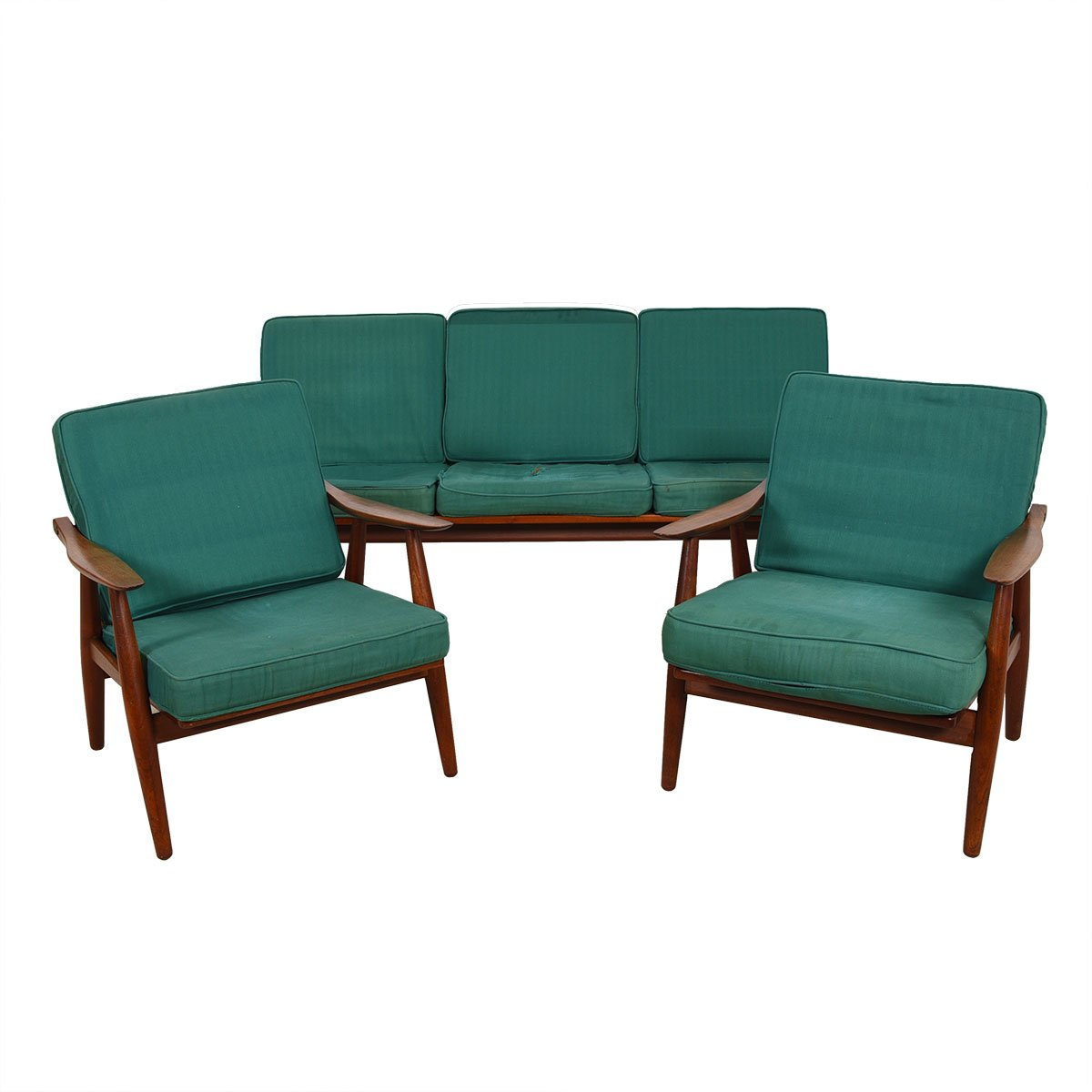 Hans Wegner Ge-270 Danish Teak Sofa & Pr Chairs Set.