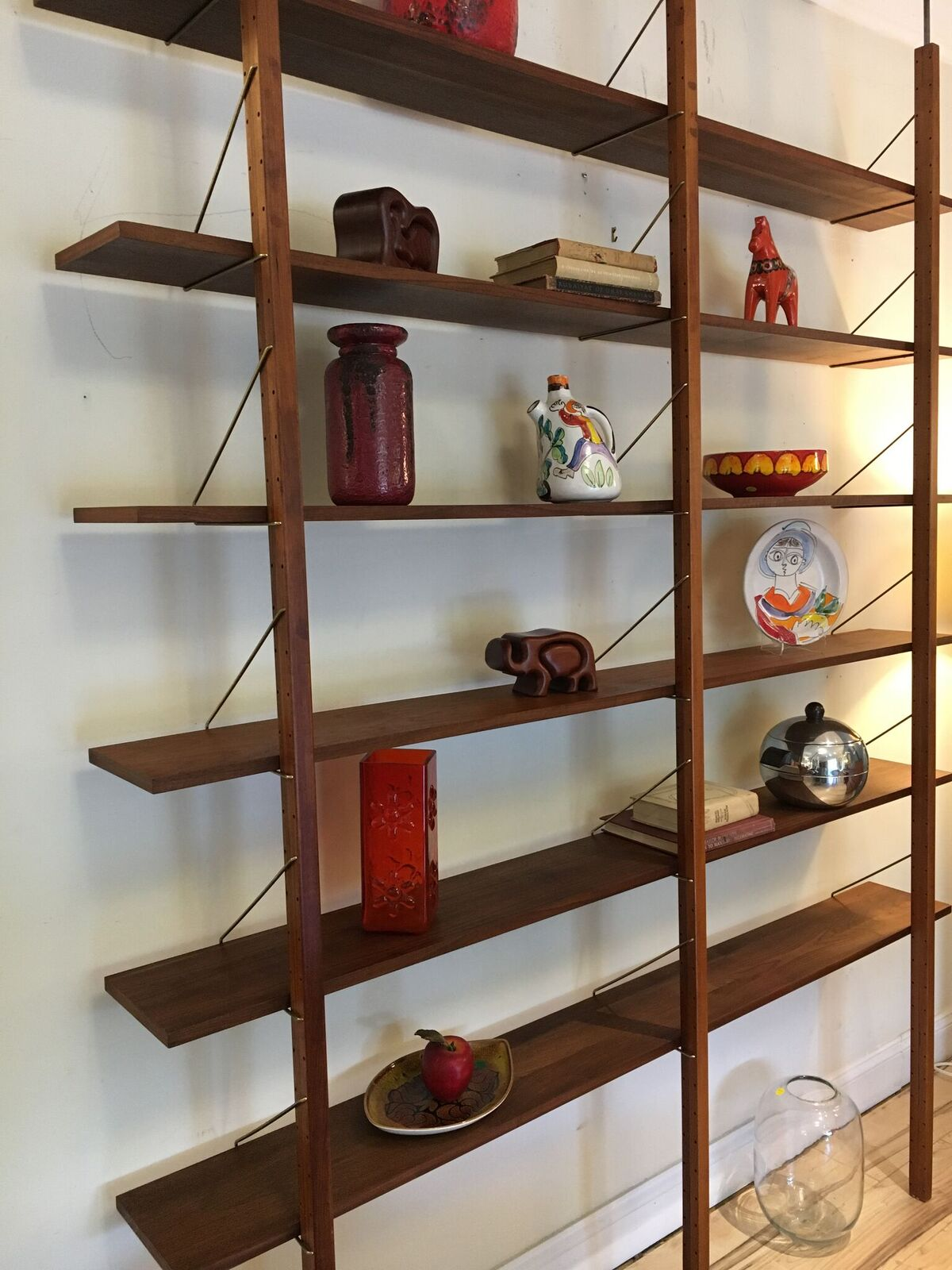 MCM Brass and Walnut Wall Tension Pole Wall Units