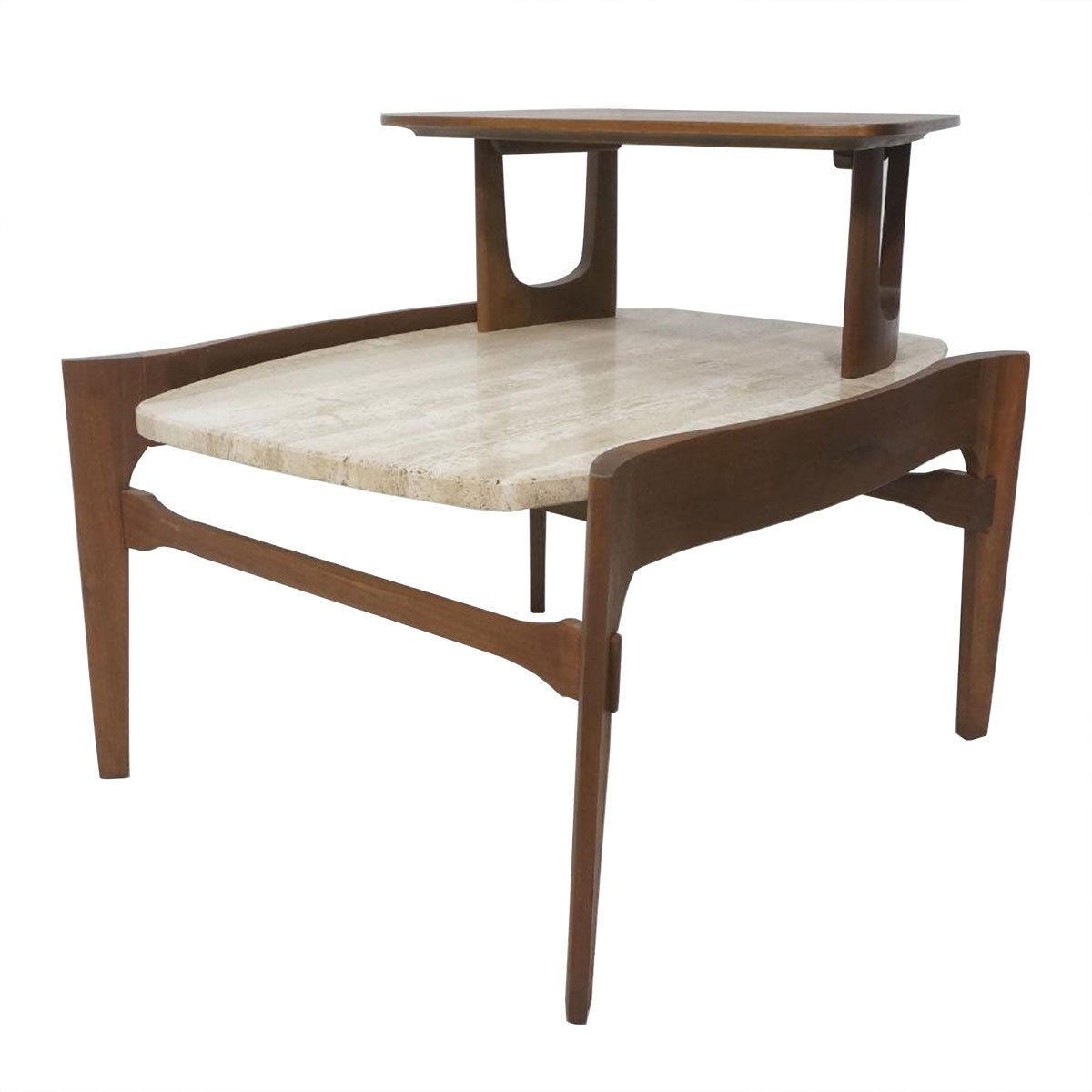 Bertha Schaefer MCM Walnut Travertine Step Table