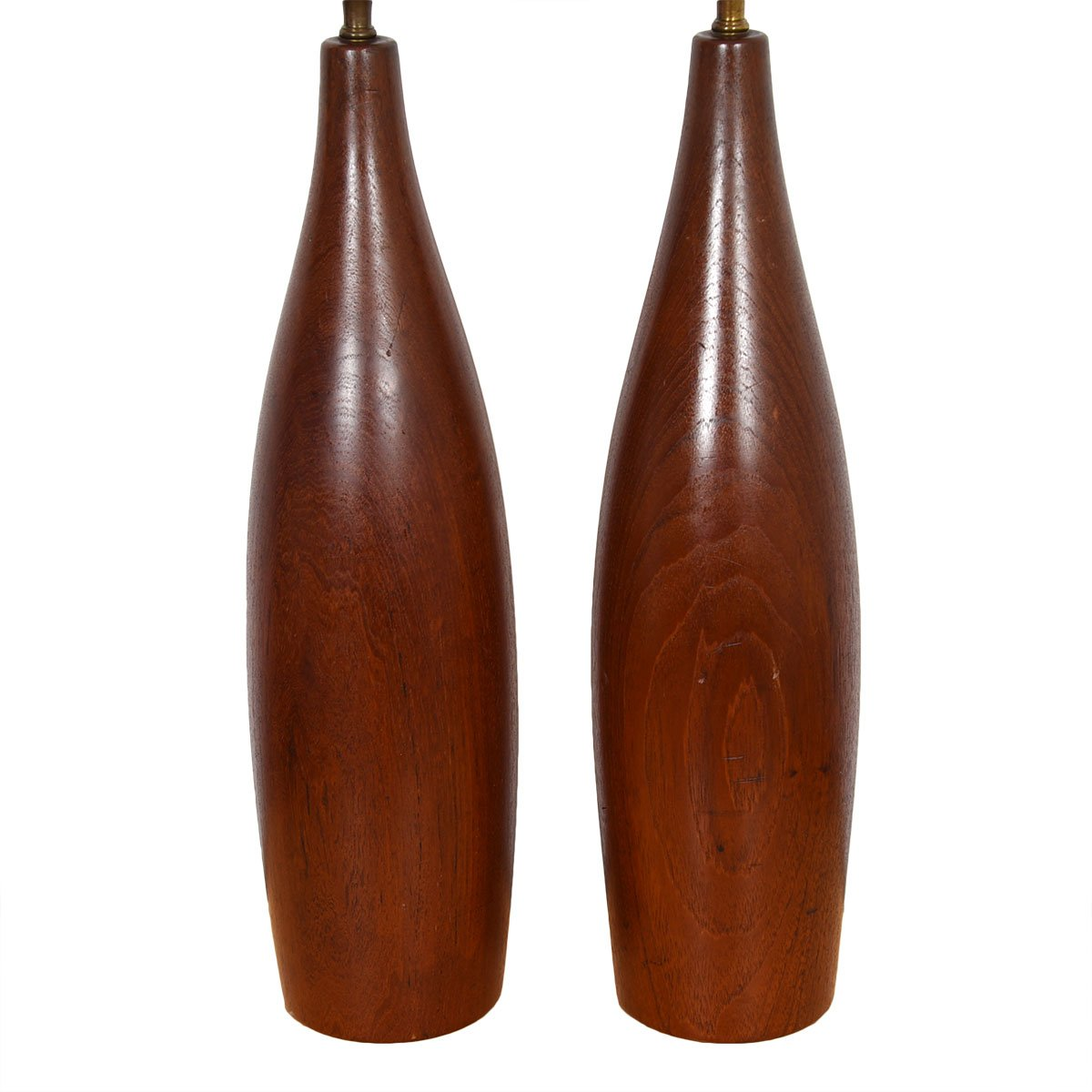 Pair of Teak Turned Table Lamps
