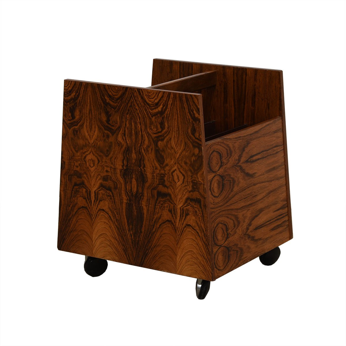 Rosewood Rolling Magazine, LP / Vinyl Records Cart.