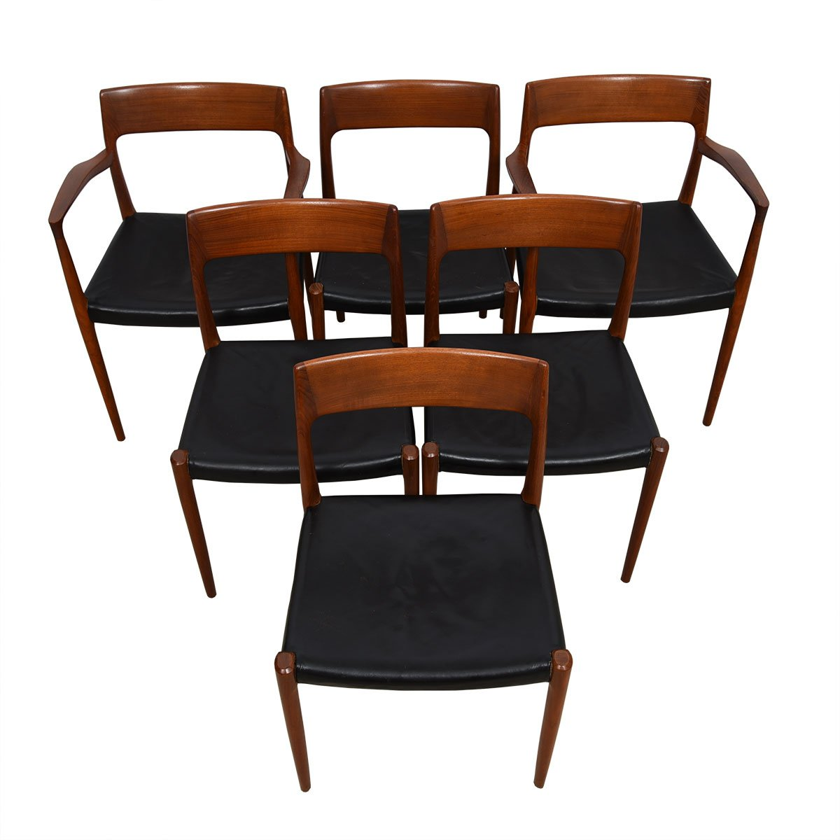 Fabulous Set of 6 Leather (2 Arm + 4 Side) Danish #57 & #77 Teak Moller Chairs