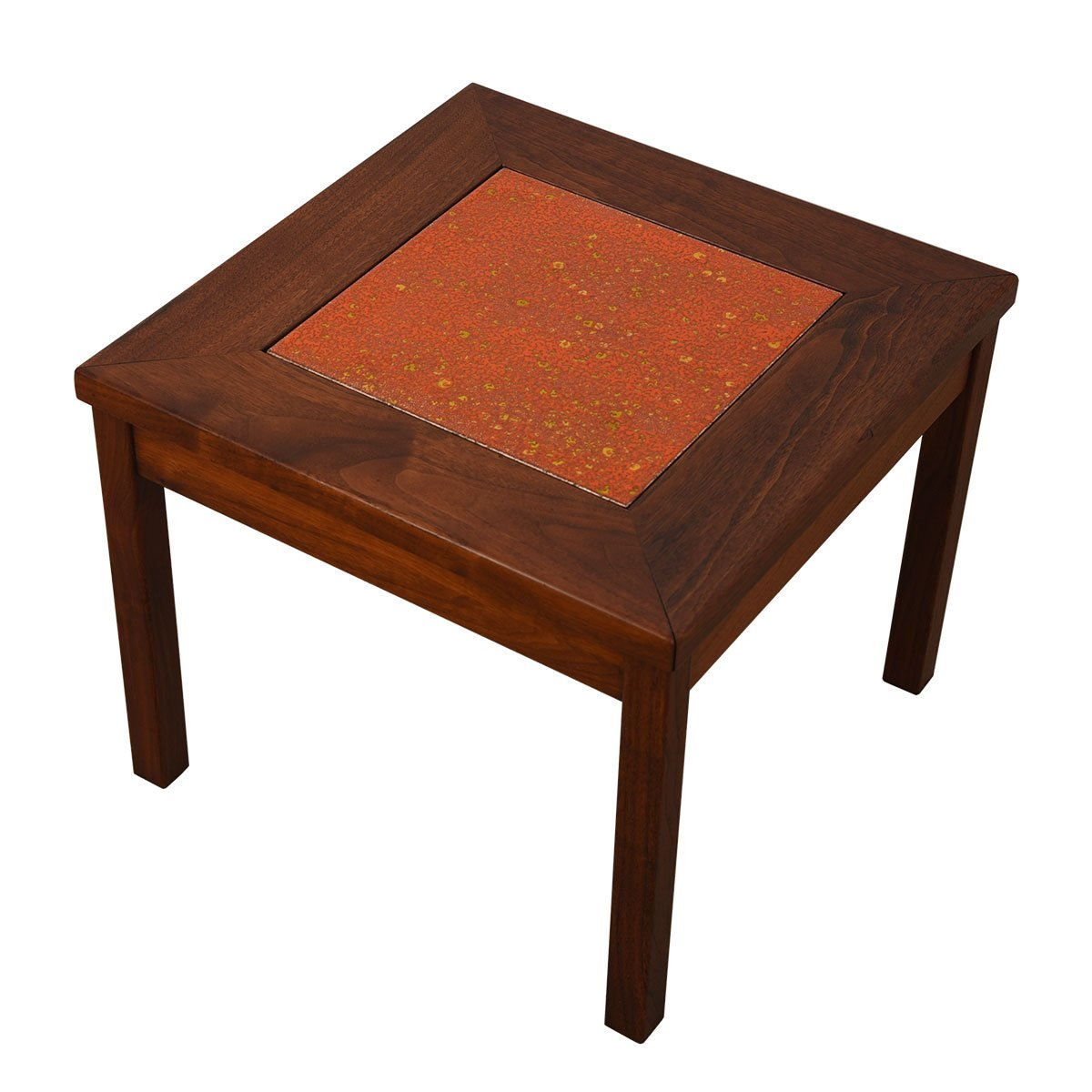 Two Walnut Accent Tables w/ a Cloisonné Inset, Blue & Orange