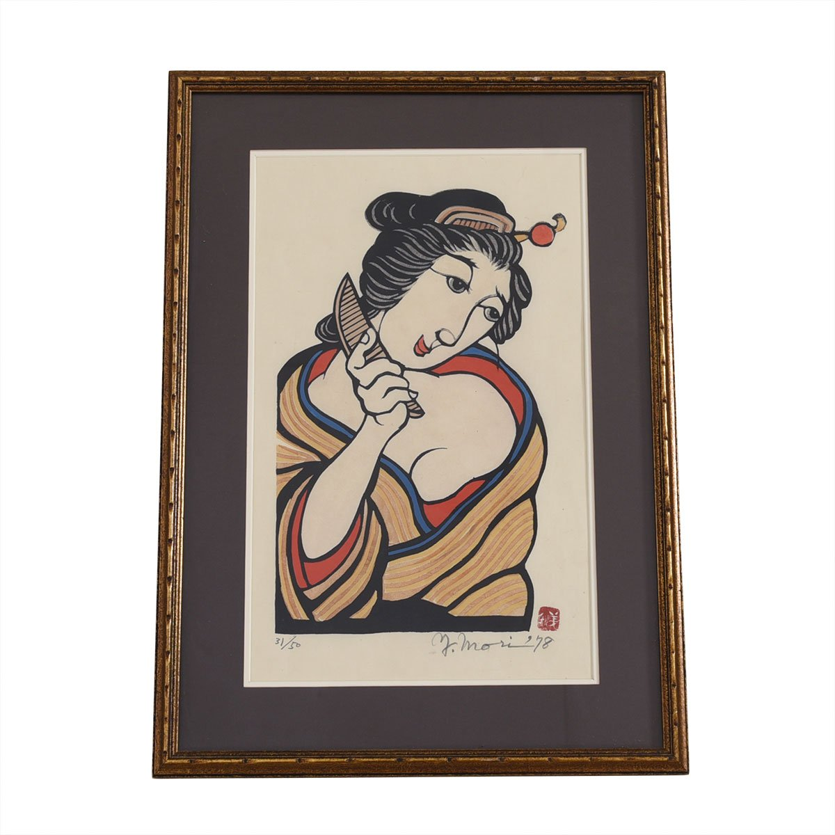 Yoshitoshi Mori Japanese Wood Block Print, Woman with Comb