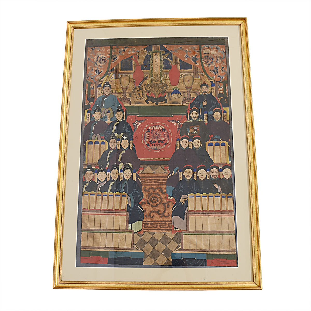 Stunning Antique Chinese Ancestral Family Portrait