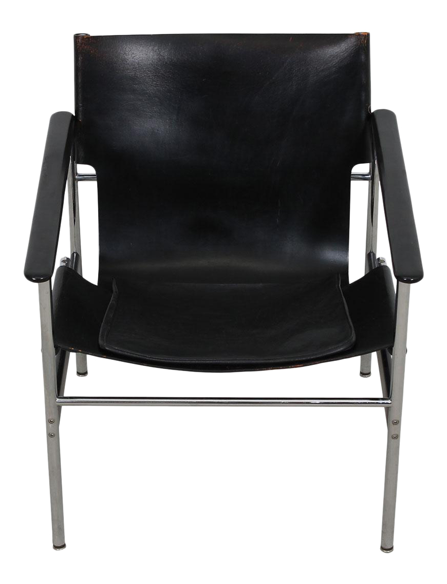 Leather & Chrome Sling Chair #657, by Charles Pollack for Knoll
