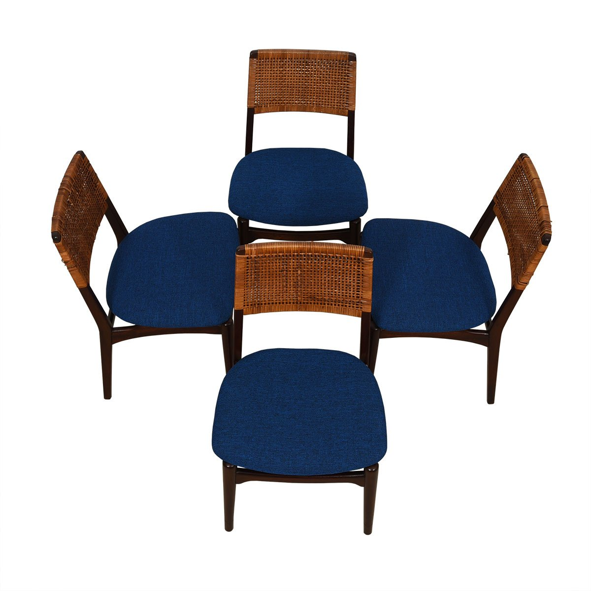 Set of 4 Petite 1950's Dining Chairs w/ New Upholstery.