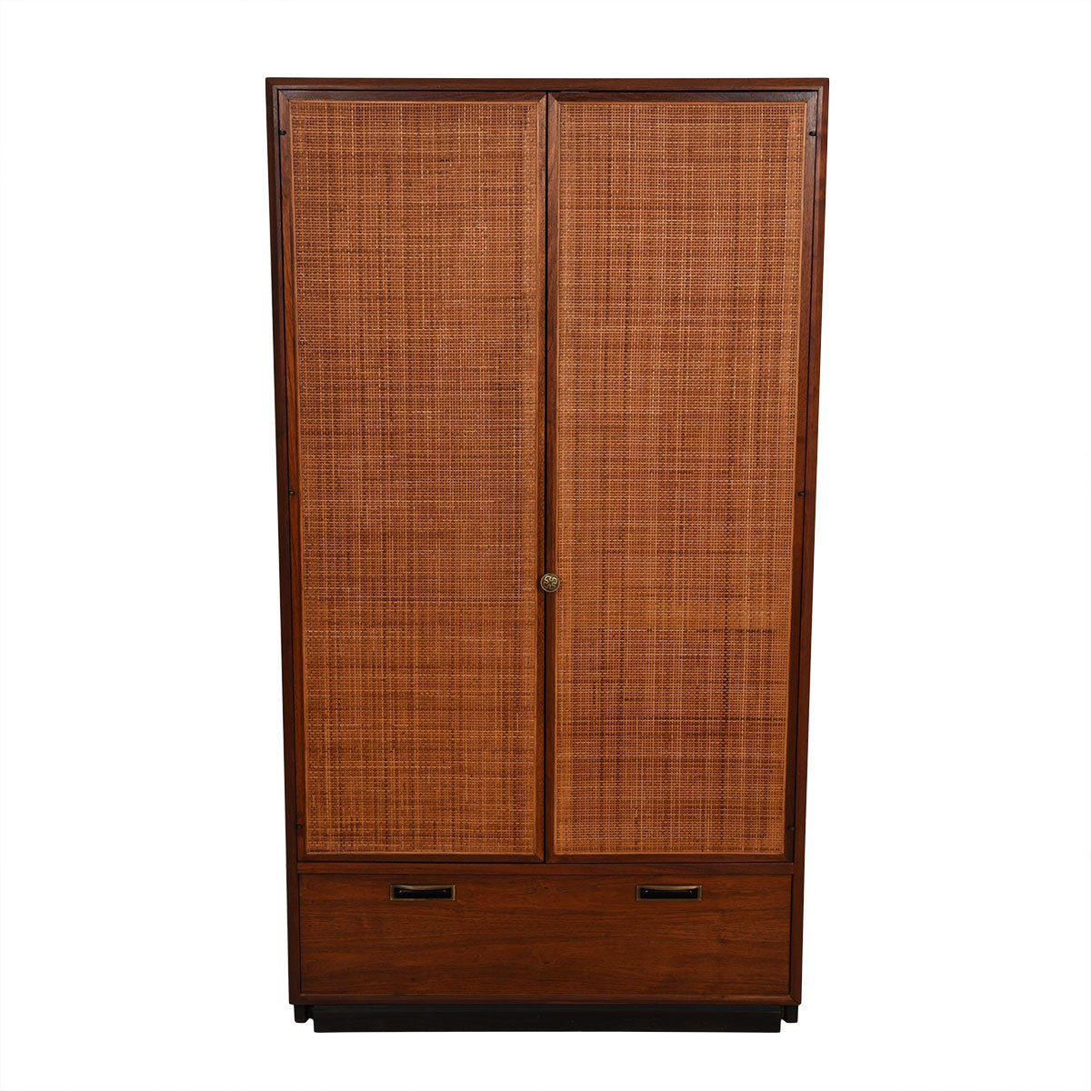 Walnut Mid-Century Multifunctional Armoire / Bar Cabinet w/ Rattan Doors