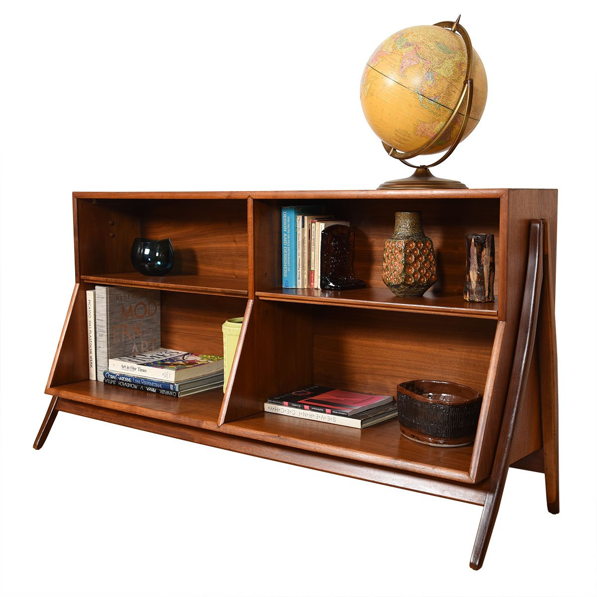 Rare Pair of Kipp Stewart A-Frame Bookcases in Walnut.