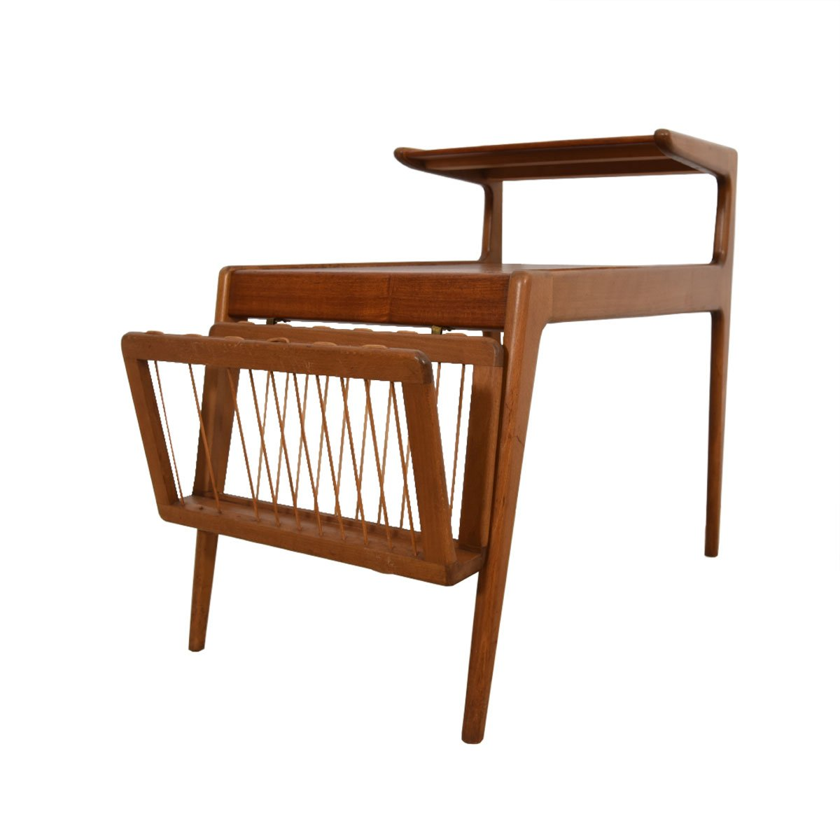 Rare Pair of Ostervig Teak Side Tables w/ Removable Magazine Racks