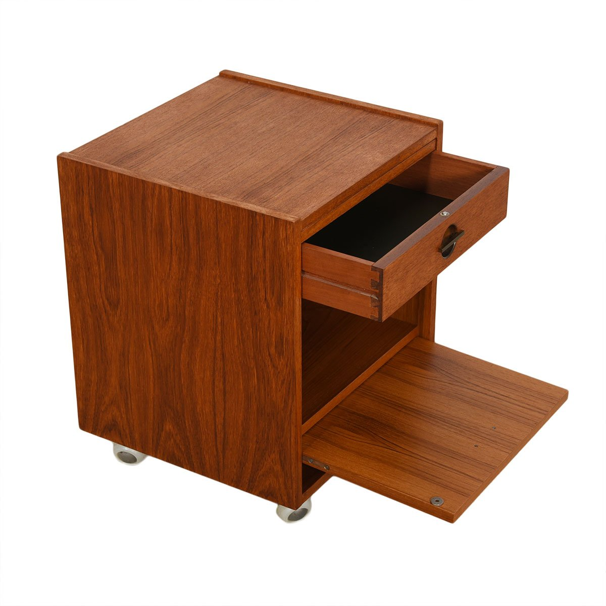 Danish Modern Teak Rolling Nightstand / End Table