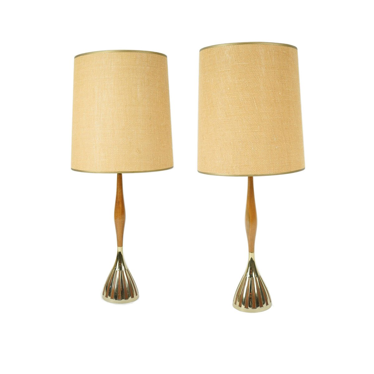 Pair of Slim Teak with Brass Table Lamps by Laurel