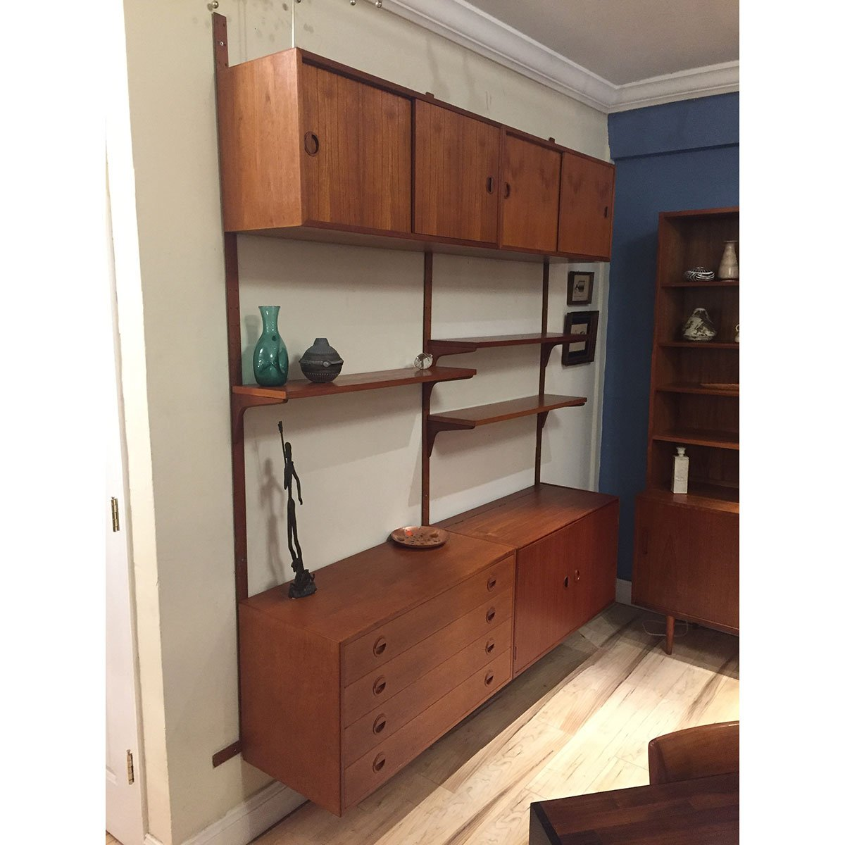 Danish Modern Teak Wall Unit Shelving System