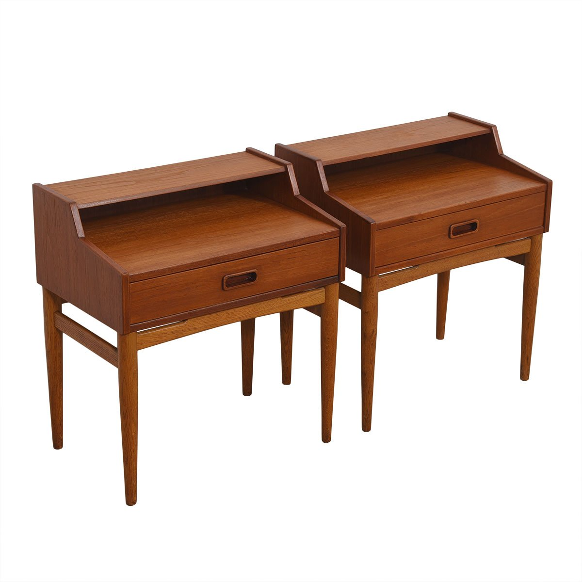 Petite Pair of Rare Arne Hovmand-Olsen for Mogens Kold Teak Nightstands.