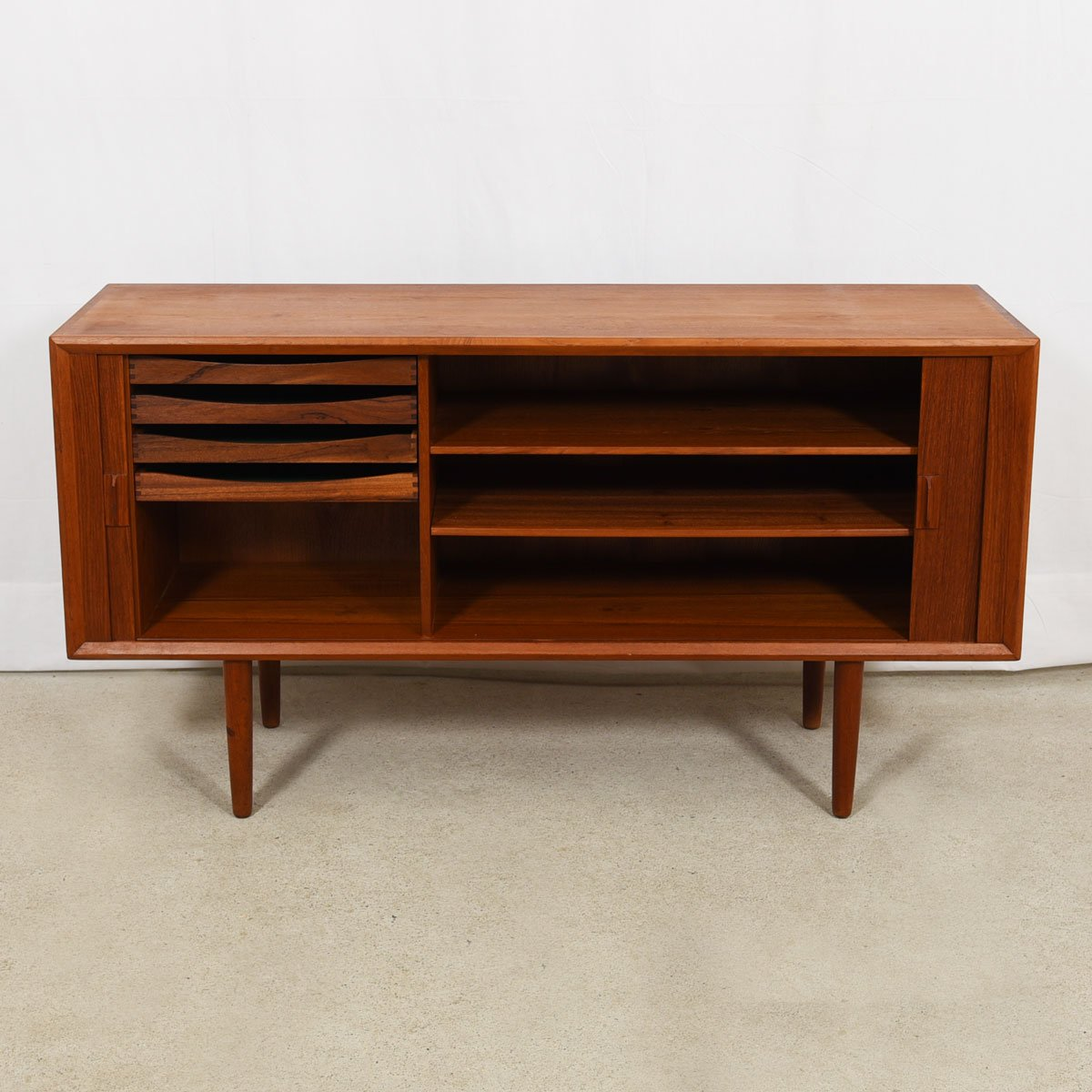 59″ Danish Teak Sideboard — Tambour Door Room Divider