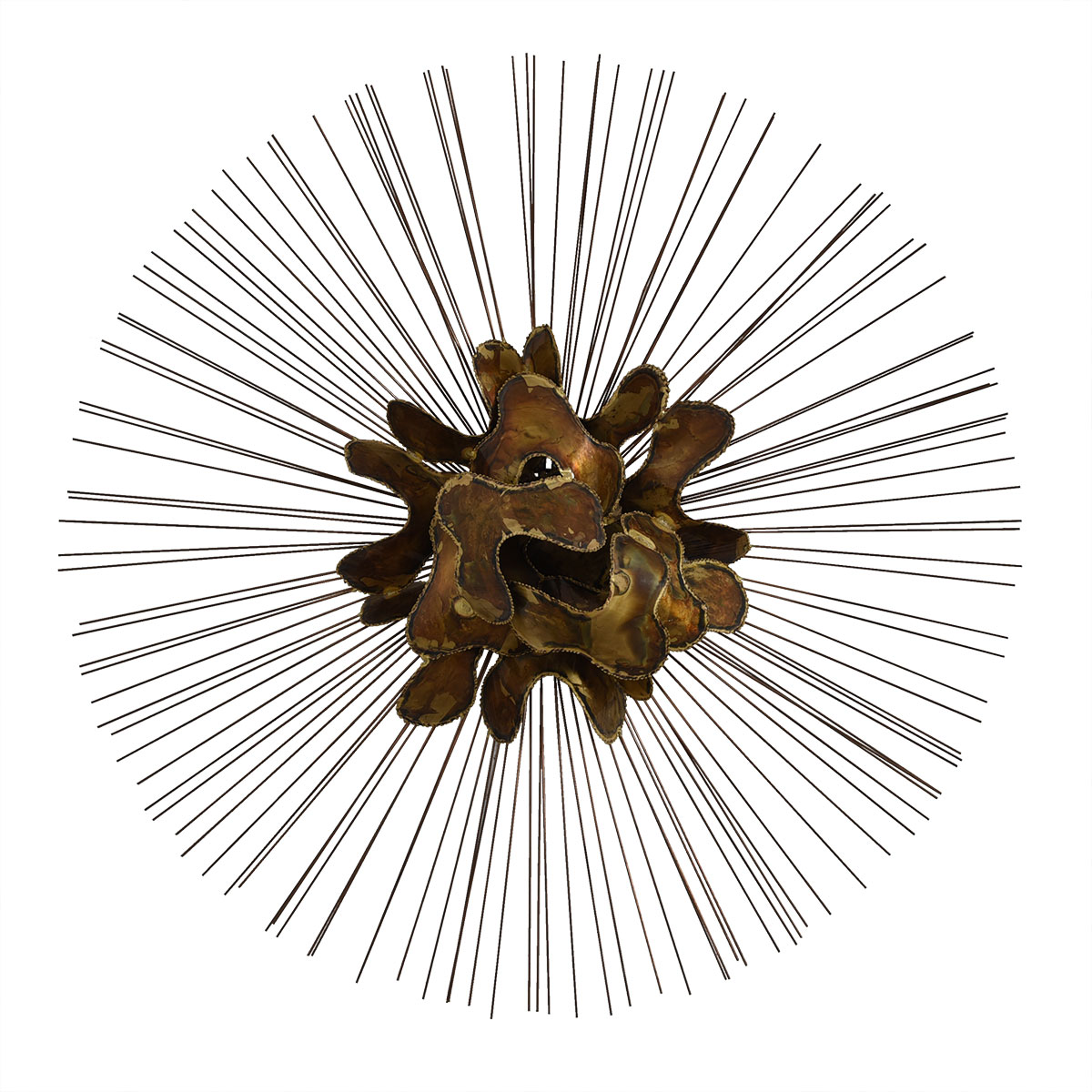 Brutalist Sunburst Metal Wall Sculpture