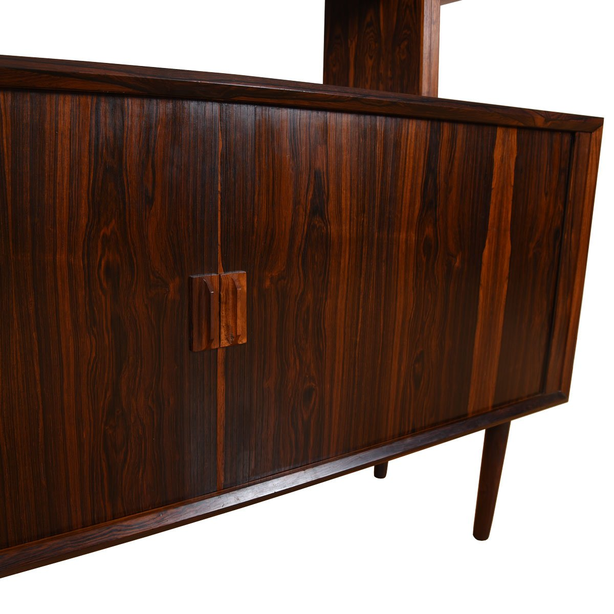 Gorgeous Room Divider / Danish Rosewood Tambour Door 2-Piece Sideboard.