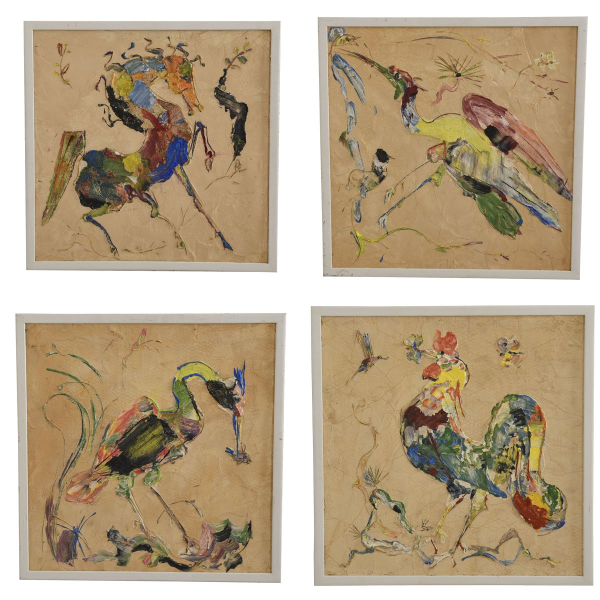 Quartet of Impressionistic Animal Impasto Paintings