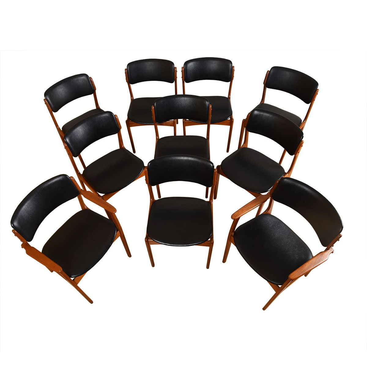 Set of 10 (2 Arm + 8 Side) Danish Teak Dining Chairs by Erik Buch