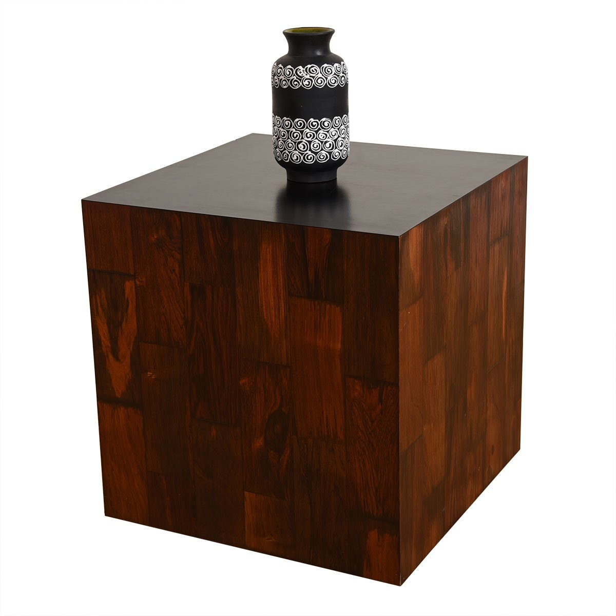 Rosewood Accent Table / Stool with Removable Cushion.