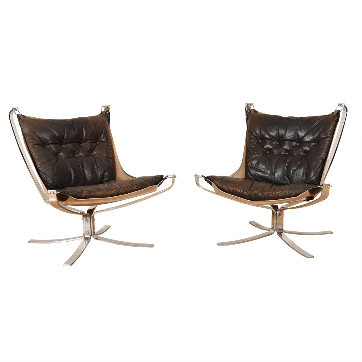 Rare Pair of Chrome & Leather Falcon Chairs.