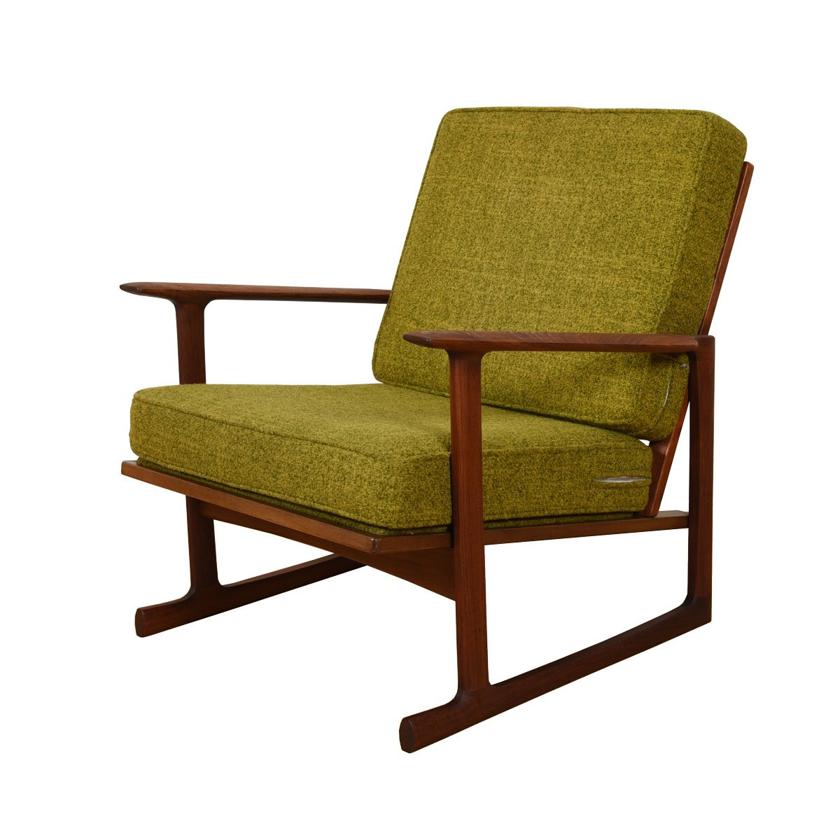 Early Pair of Kofod Larsen Sleigh-Leg Easy Chairs for Selig