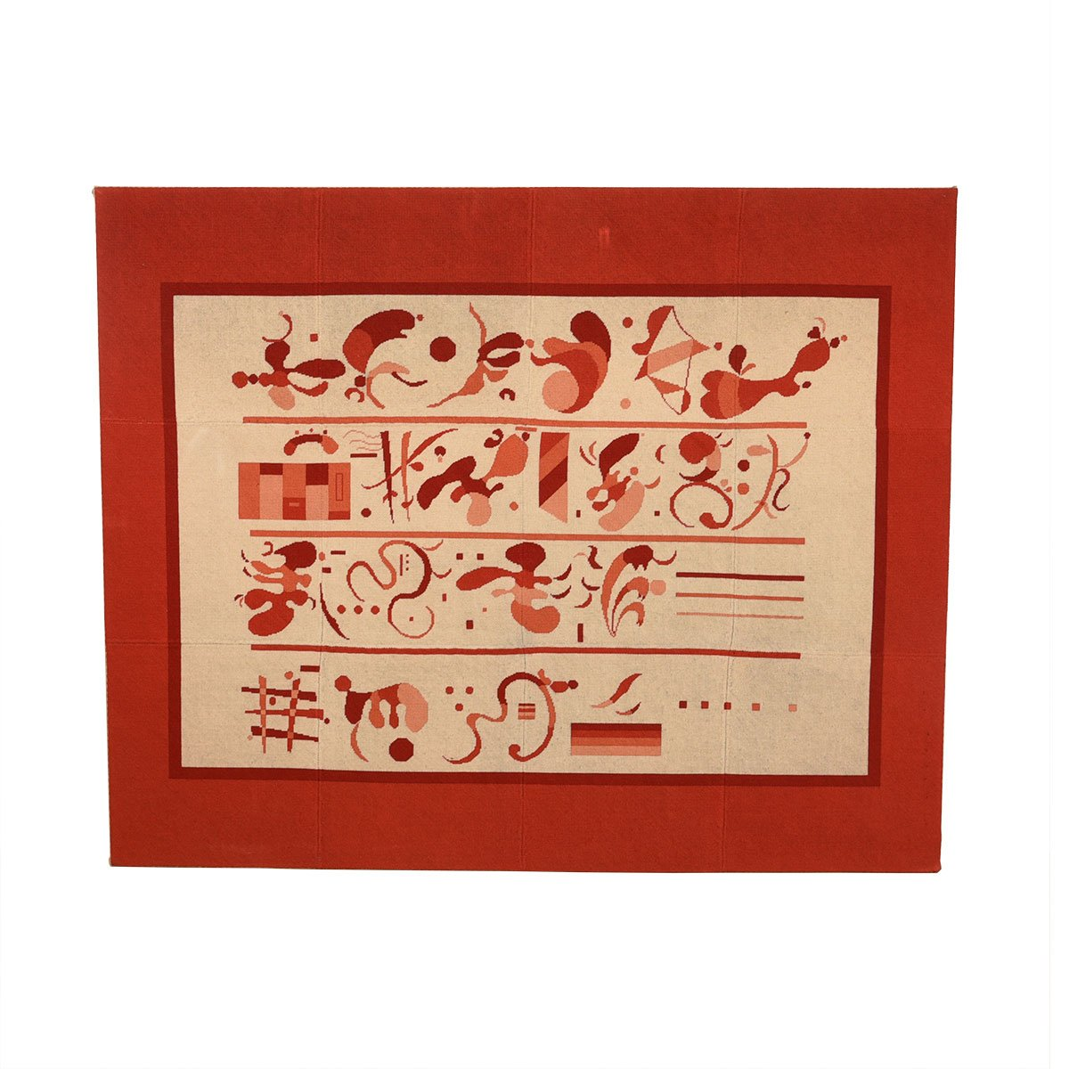 Museum-quality Needlepoint Art Piece Featuring Modernist Hieroglyphs