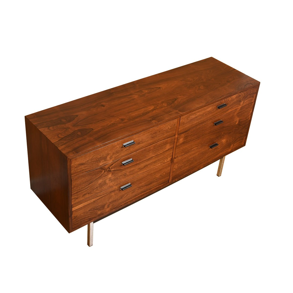 Rosewood 6 Drawer Dresser w/ Chrome Legs