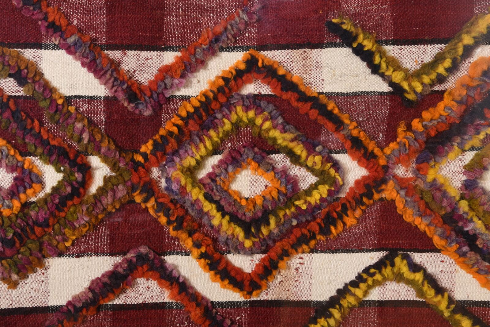 Large-Scale Framed 95″ x 63″ Textured Geometric Textile