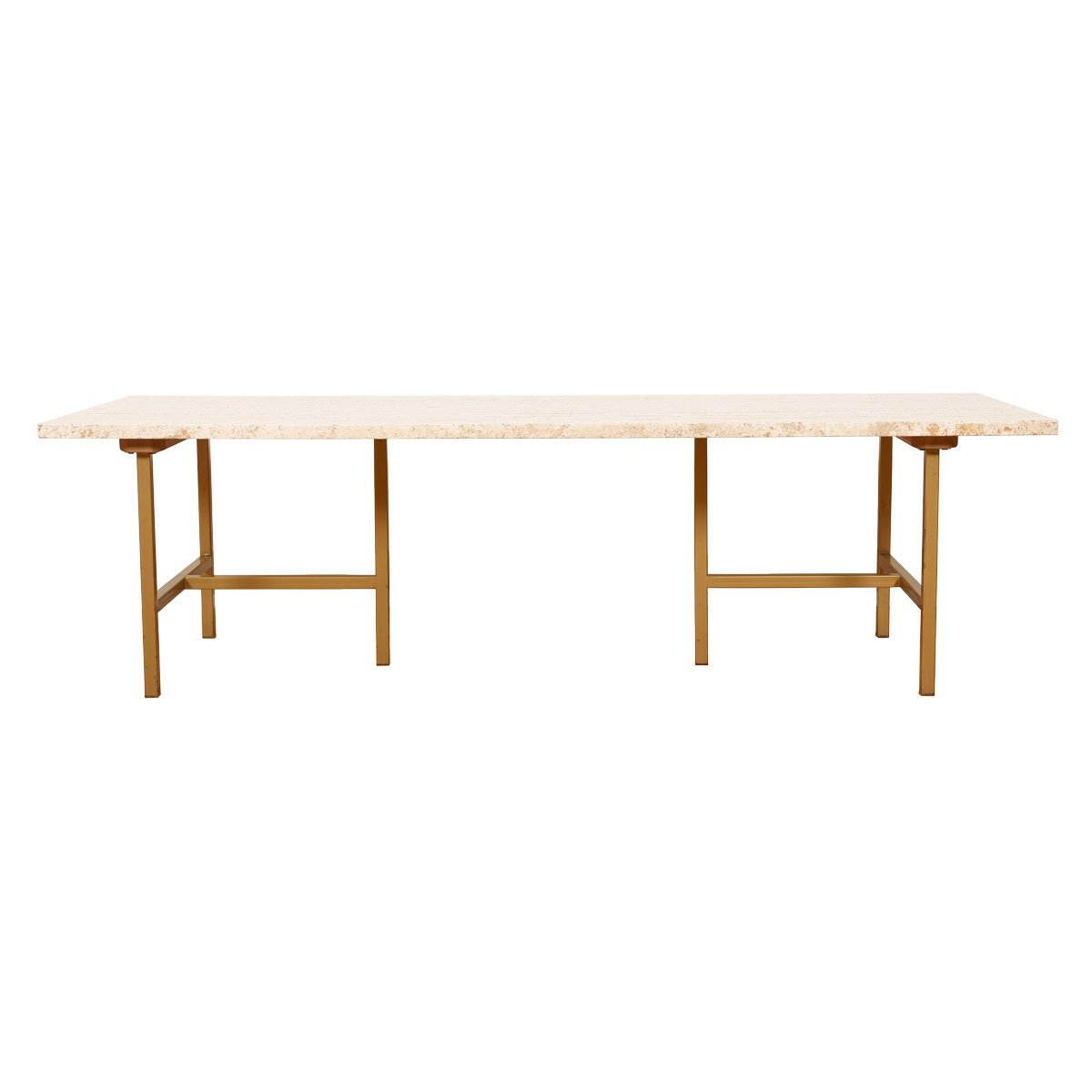 American Modernist Brass & Travertine Coffee Table.