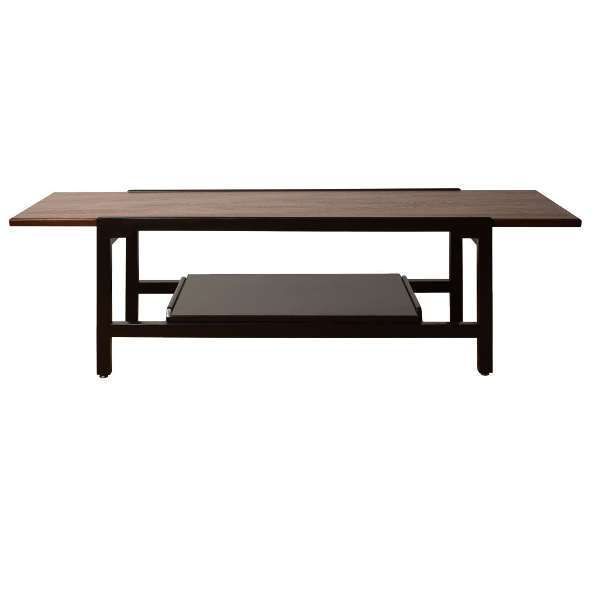 Dunbar Walnut & Black Lacquer Coffee Table w/ Shelf